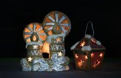 Het speelgoed van het nieuwjaar met kaarsen Royalty-vrije Stock Afbeeldingen