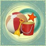 Het speelgoed van het strand - retro prentbriefkaar Stock Afbeelding