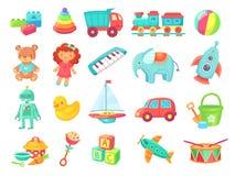 Het speelgoed van het jonge geitjesbeeldverhaal Baby - pop, trein op spoorweg, bal, auto's, boot, jongens en meisjespret geïsolee stock illustratie