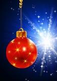 Het speelgoed van Kerstmis op een blauwe achtergrond Royalty-vrije Stock Afbeelding