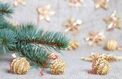 Het speelgoed van Kerstmis van stro Royalty-vrije Stock Fotografie