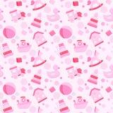 Het speelgoed vector naadloos patroon van het babymeisje Stock Fotografie