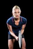 Het speeltennis van de tennisspeler met een racket Royalty-vrije Stock Afbeelding