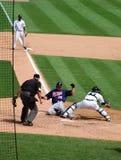 Het spel 11 Juli 2010, de scores van tijgers van Jason Kubel Stock Foto