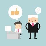 Het spel sociaal netwerk van de salarismens en chef- tribune achter hem vector illustratie