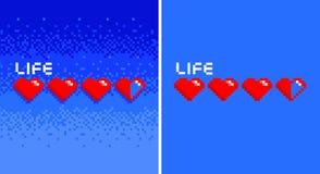 Het spel uitstekende harten met 8 bits van de pixelkunst op blauwe bacground vector illustratie
