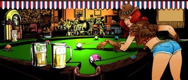 Het spel van biljart in de bar Stock Foto