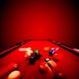 Het spel van de Billardspool. Het breken van de kleurenbal Stock Fotografie