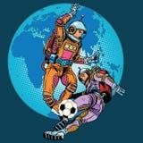 Het spel van de gelijkeastronauten van het voetbalvoetbal stock illustratie