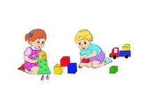 Het spel van de jongen en van het meisje Stock Afbeelding
