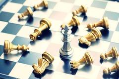 Het spel van de schaakraad, bedrijfs concurrerend concept, exemplaarruimte stock afbeelding