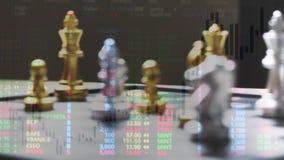 Het spel van de schaakraad en digitale grafiek, het concept van strategieideeën stock videobeelden