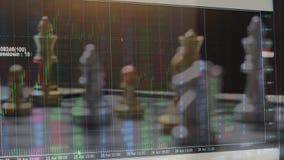 Het spel van de schaakraad en digitale grafiek, het concept van strategieideeën stock footage