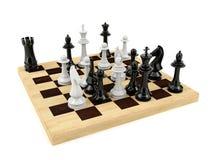 Het spel van de schaakraad op witte achtergrond wordt geïsoleerd die Stock Foto