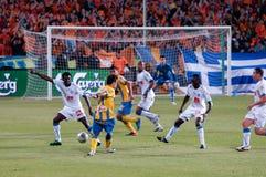 Het spel van de voetbal, Cyprus, Apoel agains Anorthosis. Royalty-vrije Stock Afbeelding