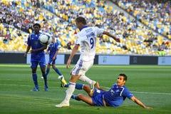 Het spel van de voetbal tussen Dynamo Kyiv en Tavriya Stock Afbeelding