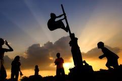Het Spel van de zonsondergang stock foto's