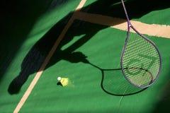 Het spel van het badminton stock afbeelding