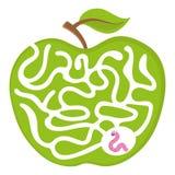 Het spel van het beeldverhaallabyrint voor jonge geitjes Num Worm 04 met vector het raadselillustratie van het appellabyrint Stock Fotografie