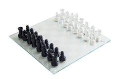 Het spel van het glasschaak scheept stukken in Royalty-vrije Stock Afbeeldingen