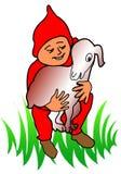 Het spel van het jonge geitje met schapen Stock Afbeelding