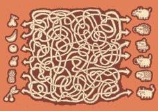 Het Spel van het Labyrint van dieren en vruchten Stock Foto's