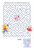 Het spel van het labyrint voor jonge geitjes - de katjes van de Valentijnskaart vector illustratie