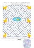 Het spel van het labyrint voor jonge geitjes - eendjes en vijver stock illustratie