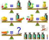 Het spel van het logicaraadsel Wat is het gewicht van de wortel? Stock Foto