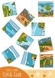 Het spel van het onderwijsraadsel voor kinderen, Vissenfamilie stock illustratie