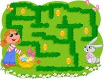 Het spel van jonge geitjes: Het labyrint van Pasen Royalty-vrije Stock Fotografie