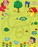 Het spel van het labyrint voor kinderen stock afbeelding