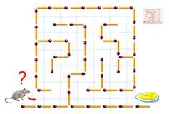 Het spel van het logicaraadsel met labyrint voor kinderen en volwassenen Help de muis de manier tussen matchsticks tot de kaas vi royalty-vrije illustratie
