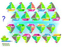 Het spel van het logicaraadsel voor kinderen en volwassenen Vind de correcte bezinning van elke zeilboot en schrijf hun aantallen royalty-vrije illustratie