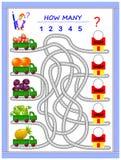 Het spel van het logicaraadsel voor kleine kinderen Waar moeten de vrachtwagens vruchten leveren? Tel de hoeveelheid en schrijf d vector illustratie