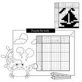 Het Spel van het onderwijsraadsel voor schoolkinderen Schip Zwart-wit Japans kruiswoordraadsel met antwoord vector illustratie