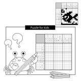Het Spel van het onderwijsraadsel voor schoolkinderen Vissen Zwart-wit Japans kruiswoordraadsel met antwoord Nonogram vector illustratie