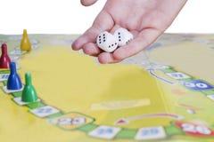 Het spel van het raadsspel komt voor en het dubbel dobbelt Stock Foto