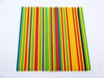 Het spel van shangai of mikado, gekleurde plastic stokken royalty-vrije stock foto