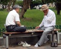 Het spel van twee elderleymensen gaat in een park Royalty-vrije Stock Foto