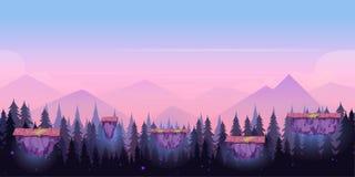 Het Spelachtergrond van de beeldverhaalnacht, naadloze achtergrond voor spelen mobiele toepassingen en computers Vectorillustrati royalty-vrije illustratie