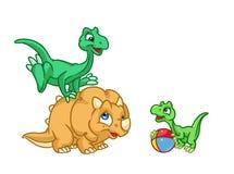 Het spelbeeldverhaal van drie babydinosaurussen Stock Fotografie