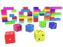 Het spelconcept van stuk speelgoed bakstenen die wordt gebouwd met dobbelt rond vector illustratie
