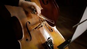 Het spelen cello dichtbij stock videobeelden