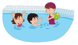 Het spelen in de pool stock illustratie