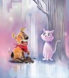 Het spelen in de regen royalty-vrije illustratie