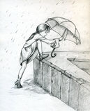 Het spelen in de regen Stock Fotografie