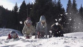 Het spelen in de sneeuw stock footage