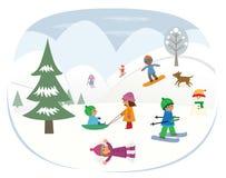 Het spelen in de sneeuw Royalty-vrije Stock Afbeeldingen