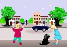 Het spelen in de straat vector illustratie